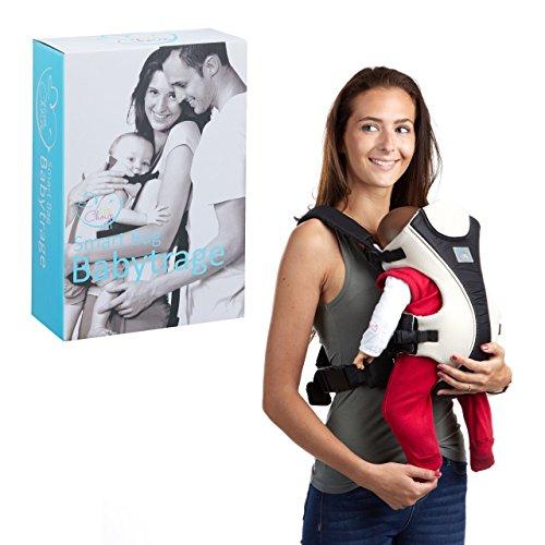 little Choice babydrager Smart Bag, buikdrager voor zuigelingen vanaf 3 maanden, ergonomische draaghulp m. Latz, zwart-wit