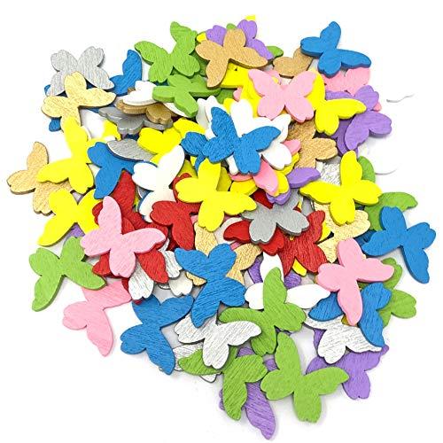 Confettis papillons argentés en bois - 20 mm - Style shabby chic - Papillons vintage pour artisanat et scrapbooking 20mm multicolore