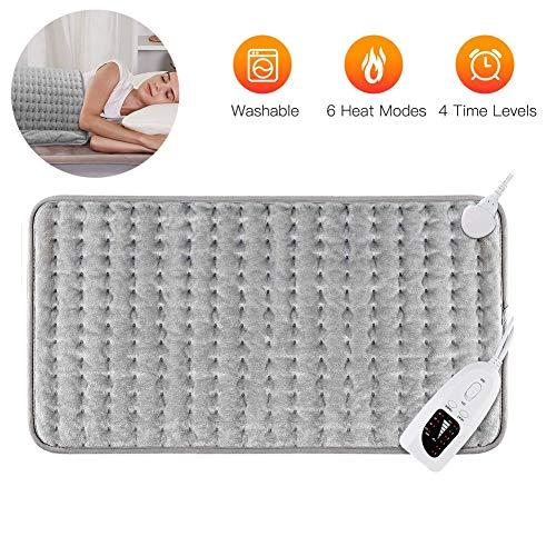 HealHeaters Groot elektrisch verwarmingskussen, 60 x 30 cm, warmtekussen, met automatische uitschakeling en temperatuurinstelling in 6 standen, voor rugpijn, spierpijn, nek, schouder, pijnverlichting