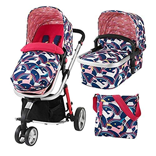 Cosatto Giggle 2 Pram and Pushchair 3 in 1 (from Birth Carrycot, Pushchair, Footmuff and Change Bag), Magic Unicorn