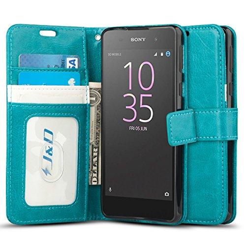 JundD Kompatibel für Xperia E5 Leder Hülle, [Handytasche mit Standfuß] [Slim Fit] Robust Stoßfest PU Leder Flip Handyhülle Tasche Hülle für Sony Xperia E5 Hülle - Türkis