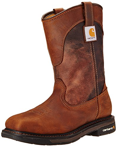 """Carhartt Men's 11"""" Wellington Square Safety Toe Work Boot CMP1218, Brown/Dark Brown Leather, 13 W US"""
