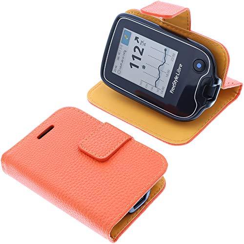 foto-kontor Tasche für Abbott Freestyle Libre 2 Book Style orange Schutz Hülle Buch