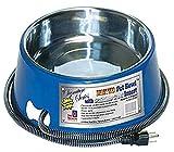 Farm Innovators Model SB-40 3-Quart Heated Pet Bowl with Stainless Steel Bowl Insert, Blue, 40-Watt