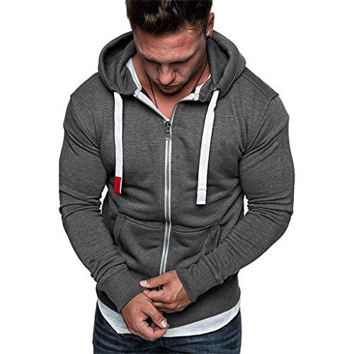 Zolimx Herren Winter Langarm Hemd Langarmshirt Hooded Longsleeve Top Shirts Oberteil Streetwear Khaki Weiß Schwarz Grau