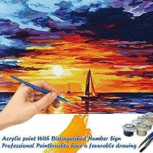 DIY Ölgemälde,Malen nach Zahlen Kit Leinwand Geschenk für Erwachsene Kinder, Sonnenuntergang Meerblick Zahlenmalerei Öl Wandkunst -No Frame