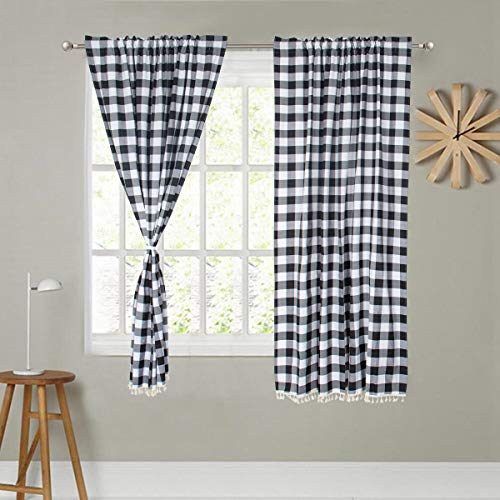 """Black and White Plaid Curtains 55 Inch Length Checked Curtains 2 Panels Plaid Curtains for Living Room 55x55-Inch Buffalo Plaid Backdrop Curtain Home Decor (55""""x55"""", Black and White)"""