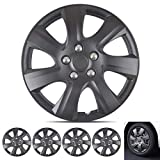 Wheel Guards  (4 Pack) Hubcaps for Car Accessories Wheel Covers Snap Clip-On Auto Tire Rim Replacement for 16 inch Wheels 16 Hub Caps (Matte Black 1021)