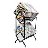 KRONNDORF Premium Vinyl Record Storage Furniture Rack, Black Vinyl Holder - Display 200 Vinyls - Modern Record Shelf Organizer, Vinyl Record Holder for Albums, Vinyl Storage Record Stand, LP Storage