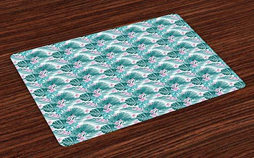 ABAKUHAUS Tropisch Placemat Set van 4, Jungle Coconut Monstera, Wasbare Stoffen Placemat voor Eettafel, Donker blauwgroen en paars