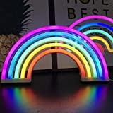 HELLOGIRL Neon Light Marquee Rainbow Signs Lighting Dormitorio Lámpara de Pared LED USB con Pilas para niños, Bodas, decoración de Fiestas (Rainbow)