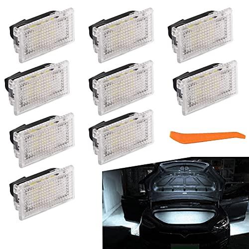9 Piezas LED de Luz Coche de interior Wedge Lampara para T-Esla Modelo 3/Modelo S/Modelo X, para lámparas de lectura de automóviles Placas de matrícula Lámparas (Blanco)