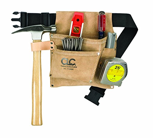 CLC Custom Leathercraft IP489X Suede Tool Bag & Poly Web Belt, 3 Pocket