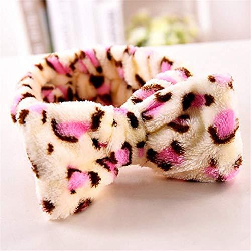 MoreLucky - Diadema elástica para lavar la cara suave (leopardo)
