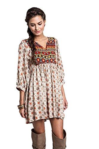 Umgee Womens Bohemian Tunic or Dress (Small, Taupe)