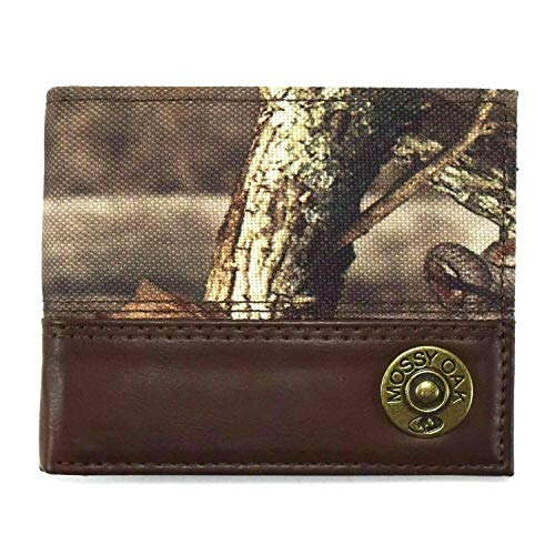 Mossy Oak Camouflage Leather Bifold Wallet by Aquarius Ltd with Metal Ornament