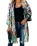 Womens Spring Autumn Fashion Open Front Glittery Sequins Bell Sleeve Maxi Cardigan Jackets Cover Ups Outwear Tops Coats Party Bar Club Stage Windbreaker Dress XXL