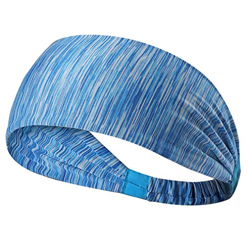 Dames Sport Yoga Haarband Anti-transpirant Tulband Sneldrogend Zweetband Haarband Running Fitness Hoofdband (Gestreept blauw)
