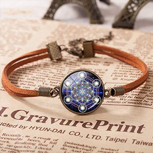 THj Bracelet Geometry Flower Of Life Jewelry Charm Leather Bracelet Glass Dome Jewelry Bracelet Length 16 Cm+3.5 Cm Adjustable