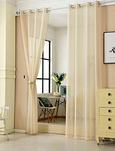 WOLTU® VH5862sd-2, 2er Set Gardinen transparent mit Ösen Leinen Optik, Doppelpack Ösenschal Vorhang Stores Voile Fensterschal Dekoschal für Wohnzimmer Kinderzimmer Schlafzimmer, 140x225 cm, Sand