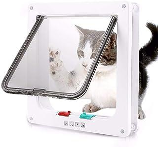 Dog Cat Flap Door with 4 Way Security Lock Flap Door for Dog Cats Kitten ABS Plastic Small Pet Gate Door Kit Cat Dogs Flap...