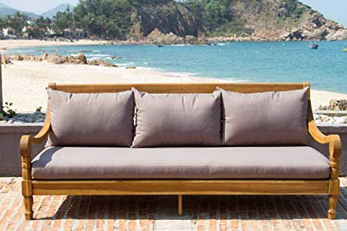 Best Safavieh Outdoor Collection Pasadena Brown /Taupe Acacia Wood Cushioned Daybed