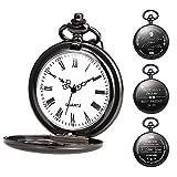 TREEWETO Orologio da tasca personalizzabile con incisione, orologio da tasca con catena da uomo, nero, regalo per compleanno, festa del papà, papà, festa del papà