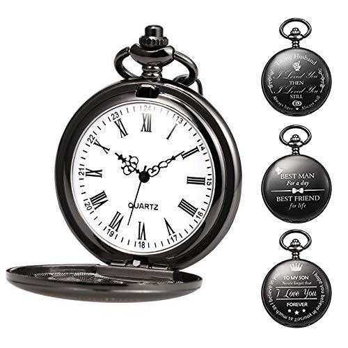 TREEWETO Orologio da tasca personalizzabile con incisione, orologio da tasca con catena da uomo, nero, regalo per compleanno, festa del papà, papà, fe
