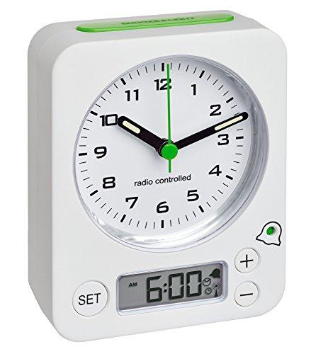 TFA Dostmann 60.1511 Combo Funkwecker mit analoger Uhrzeit und digitaler Weckzeit, besonders leise und genau, 9 x 4 x 11,5 cm, weiß, Kunststoff