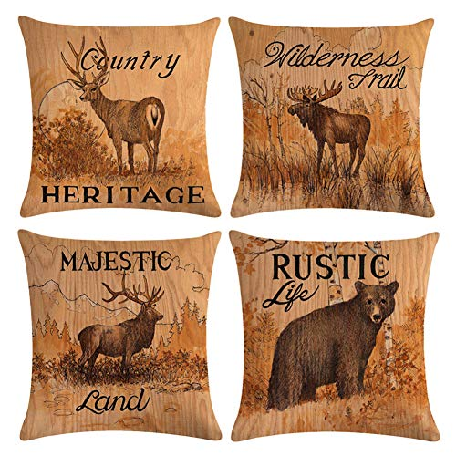 Decroitem Vintage Wild Animals Deer Elk Moose Bear Throw Pillow Covers Fall Decor Wildlife Cotton Linen Cushion Cover Pillow Cases 18 x 18 inches Set of 4 (Mountain & Animals 2)