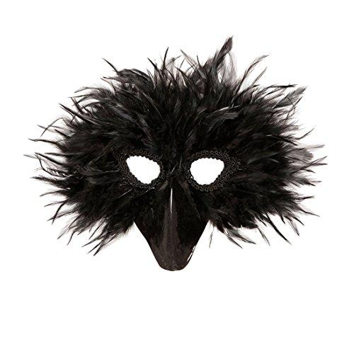 Amakando Federmaske Rabe Vogelmaske schwarz Schnabelmaske Tiermaske Vogel Rabenmaske Rabe Faschingsmaske Crow Halloween Krähenmaske