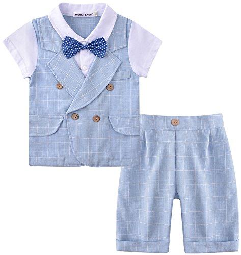 Zoerea Abbigliamento Bambino da Cerimonia Vestiti Pantaloncini Abito Bimbo Ragazzo Battesimo Maschio Completo Elegante Neonato Vestiti Estivo (Blu, 110 (Altezza Consigliata 100-110cm))