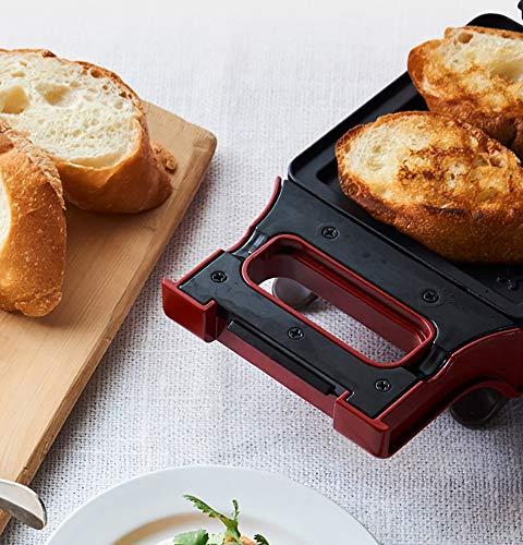 DYOYO Sandwichera 600W Maquina de Sandwichera de Acero Inoxidable Waflera con Moldes Antiadherentes y de Cocción Profunda Ideas de Recetas Temperatura Ajustable