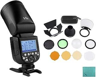 Godox V1O Flash de cámara Speedlite Speedlight Cabeza Redonda inalámbrica 2.4G Fresnel Zoom para cámaras Olympus + Godox A...