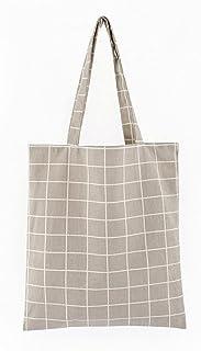 SJZERO Sac fourre-tout en toile à carreaux lin coton sacs à provisions mignons pour femmes étudiant pliant Portable simple...