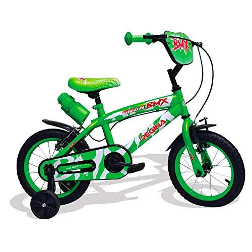 Mediawave Store - Regina BMX GVC-5422 Bicicletta per Bambini Misura 12 con 2 Freni, Bici per Bambini con rotelle, 3-4 Anni, Bicicletta per Bambini Piccoli, Bici BMX con Borraccia (Verde)