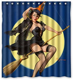 Bathroom Shower Curtain - Sexy Pin Up Girl I'm a Halloween Witch - Vintage Retro Pin Up Girls Body Art Work Canvas Painting Style Waterproof Polyester Fabric 66(w) x72(h) Rings Included