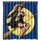 Badezimmer-Duschvorhang – Sexy Pin Up Girl I'm a Halloween Hexe – Vintage Retro Pin Up Mädchen Body Art Arbeit Leinwand Gemälde Stil Wasserdichte Polyester Stoff 66 x 72 (H) Ringe enthalten