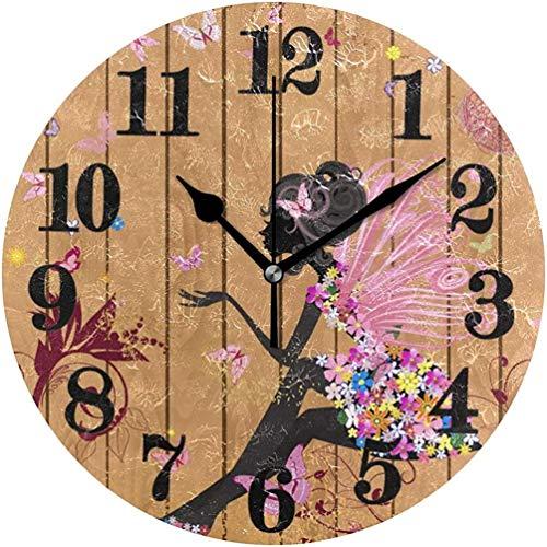 Mesllings Clásico Daisy Flower Negro Reloj de pared redondo para mujer, sin tictac, funciona con pilas, reloj de cuarzo de 9.84 pulgadas
