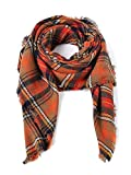 Trendy Women's Cozy Warm Winter Fall Blanket Scarf Stylish Soft Chunky Checked Giant Scarves Shawl Cape Orange