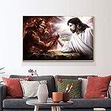 wZUN Carteles e Impresiones nórdicos de Lucha de Brazo de Dios y Diablo Pintura en Lienzo decoración del hogar Imagen artística de Pared escandinava para Sala de Estar 50x70cm