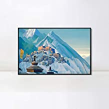 INVIN ART Framed Canvas Giclee Print Tibet Himalayas, 1933 by Nicholas Roerich Wall Art Living Room Home Office Decorations(Black Slim Frame,28