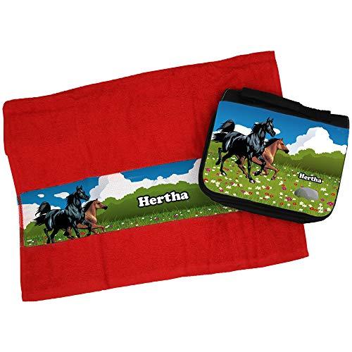 Eurofoto Handtuch + Kulturbeutel Set mit Namen Hertha und Pferde-Motiv für Mädchen   Handtuch und Kulturbeutel Bedruckt  