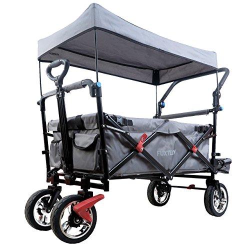FUXTEC faltbarer Bollerwagen FX-CT800 grau klappbar mit Dach, Vorder- und Hinterrad-Bremse, Vollgummi-Reifen, Bügel,Innenraumverlängerung für extra lange Beine, für Kinder geeignet - Das Original !