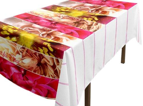 Soleil d'ocre 857126 Nappe Cirée Rectangulaire Imprimé Beautiful Rose Toile/PVC Multicolore 140 x 240 cm