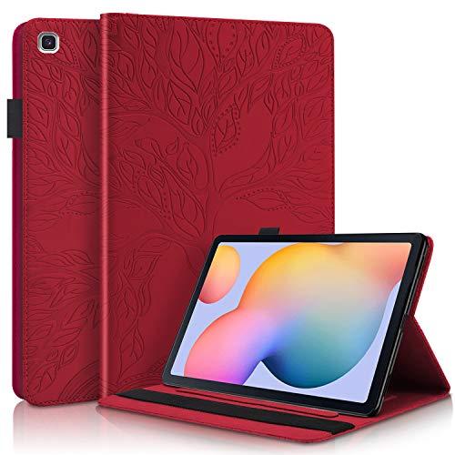 AsWant Samsung Tab S6 Lite Hülle PU Leder Brieftasche Folio Flip Tasche Stifthalter Stand Tablet Schutzhülle für Samsung Galaxy Tab S6 Lite 2020 10.4 Zoll SM-P610/SM-P615 Geprägter Baum - rot