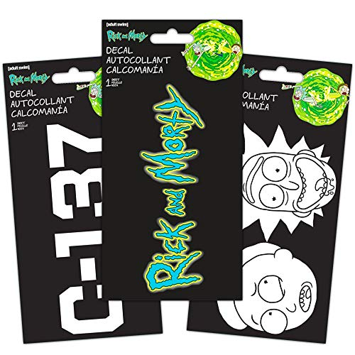 Rick and Morty Decal Set -- Bundle Includes 3 Premium Rick and Morty Stickers Room Decor, Car, Laptop (Rick and Morty Merchandise)
