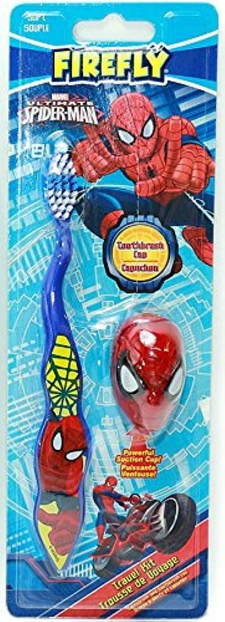 ゆるい請求可能耐える【スパイダーマン】キャップ付き歯ブラシ(ブルー)☆マーベル