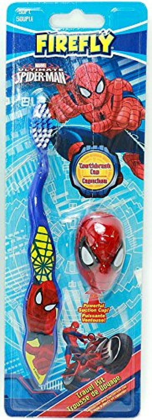 洞察力コード偶然の【スパイダーマン】キャップ付き歯ブラシ(ブルー)☆マーベル