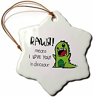 pansy 3-Inch Porcelain Snowflake Decorative Hanging Ornament,Rawr Means I Love You In Dinosaur Cute Dinosaur